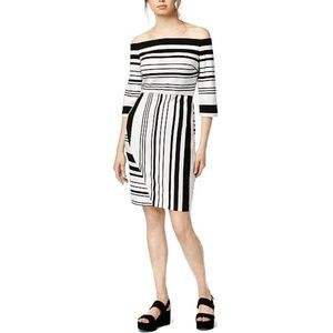 Bar Iii Striped Off-The-Shoulder Dress